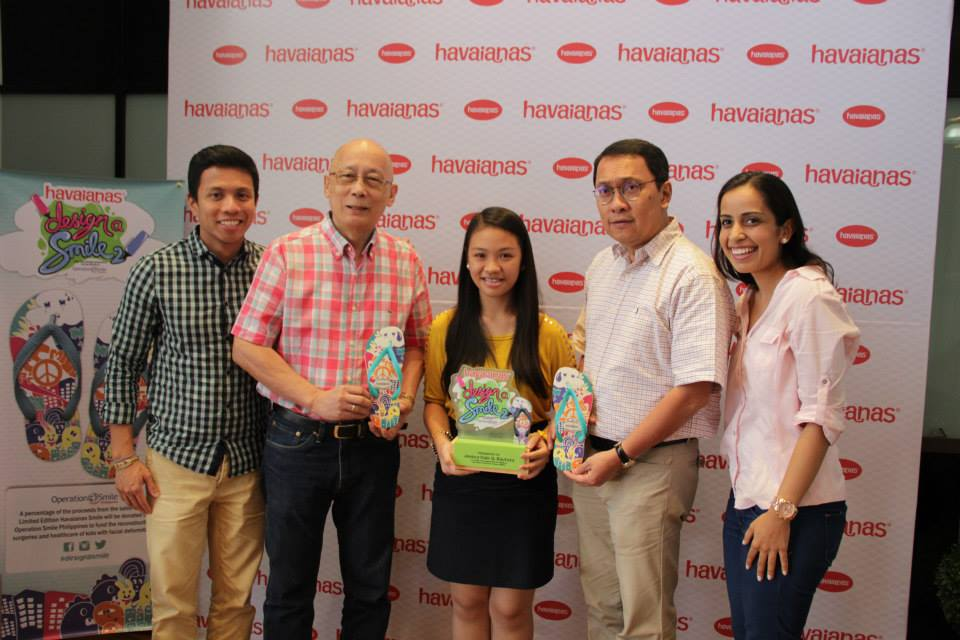 (L-R): TSA Brand Development Group Director Ammiel de Leon, Operation Smile Asia Regional's Country Director of Development (Philippines) Robert Manzano, winner Jessica Bautista, Operation Smile Philippines Executive Director Agerico Melgar, Havaianas Marketing Manager Manisha Khemlani
